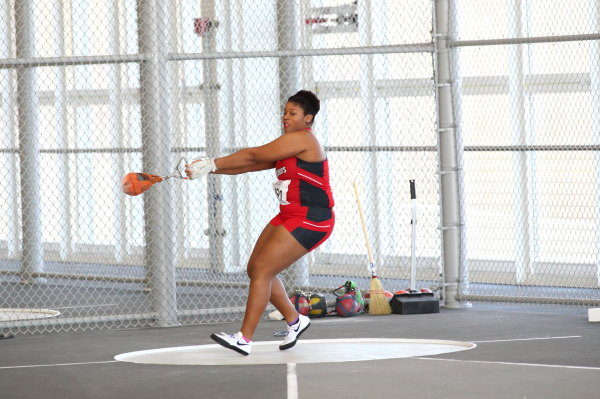 Nyla Woods finished second in the hammer-throw with a throw of 50.96 meters. (Photo: St. Johns Athletic Communications).