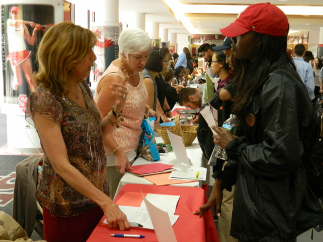 Students attended the annual Employment Fair in Carnesecca Arena on Thursday in order to find out what job opportunities the school had to offer.