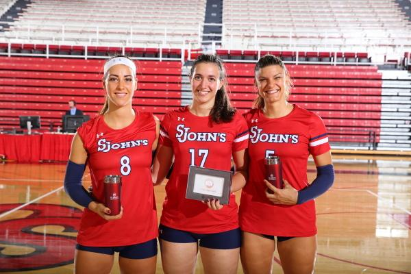 Erica Di Maulo, Margherita Bianchin and Gaia Traballi each were recieved recognition for their strong play over the weekend. (Photo Credit: RedStormSports.com)