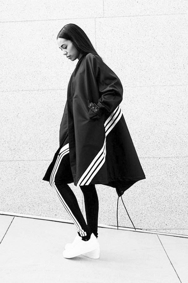 Blogger Aleali May wearing Adidas for her website.