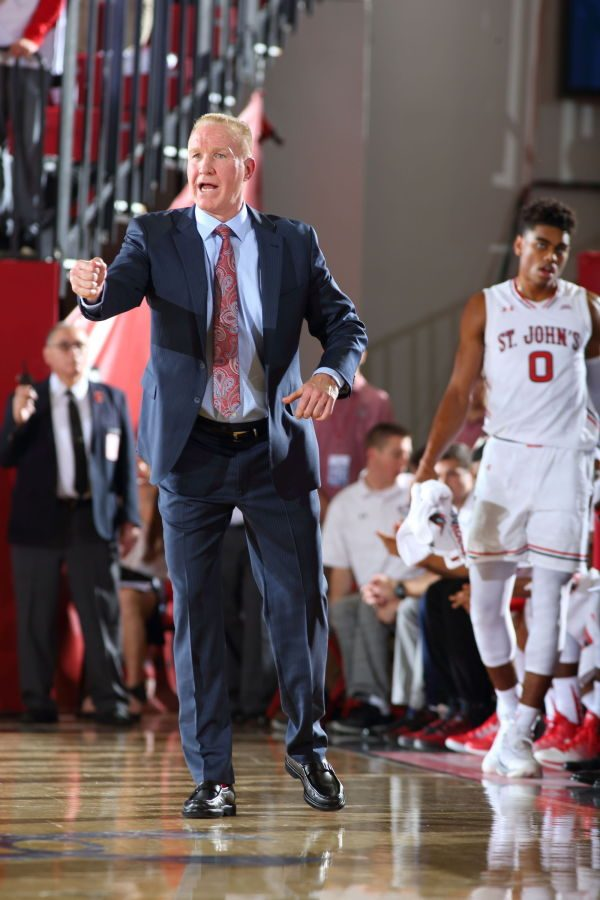Head Coach Chris Mullin delivered his first win over a ranked opponent in the Red Storm's 76-73 win over Butler. (Photo Credit: RedStormSports.com)