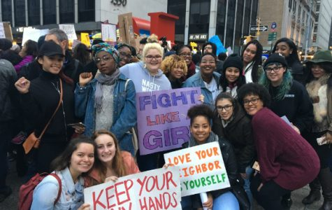 (From left to right) F.U. members Awura Ama Barnie-Duah, Alex Gaskin, Sydney Potter, (Bottom) Maquela Aguilar, Aria Hall, Madison Hunt and Stephanie Aliaga at the New York City Women's March.