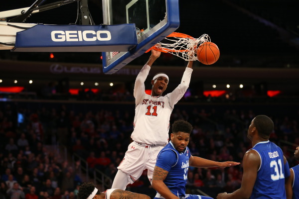 Tariq Owens logged a double-double with 10 points and 12 rebounds. (Photo Credit: RedStormSports.com).