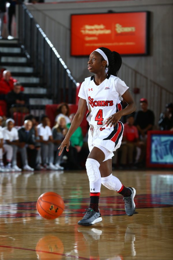 Aaliyah Lewis finished her St. John's career as the program's all-time leader in games played. (Photo: RedStormSports.com)