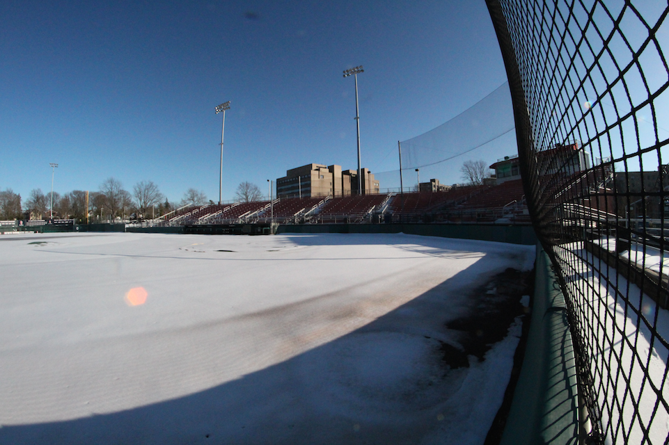 Snow covered the St. John's athletic fields throughout the weekend. (Amanda Negretti)