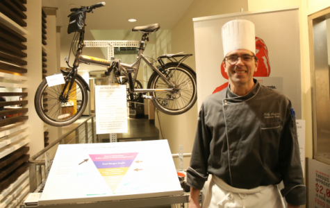 Chef Kelly Heefner said it's important to get student's feedback so that the can improve the options in Montgoris Dining Hall during a Recyclemania event this spring.