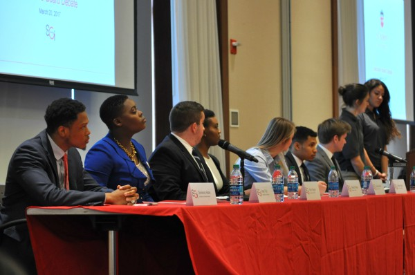 Student+Government+Inc.+held+a+debate+between+executive+board+candidates+in+the+D%27Angelo+Center+in+March.