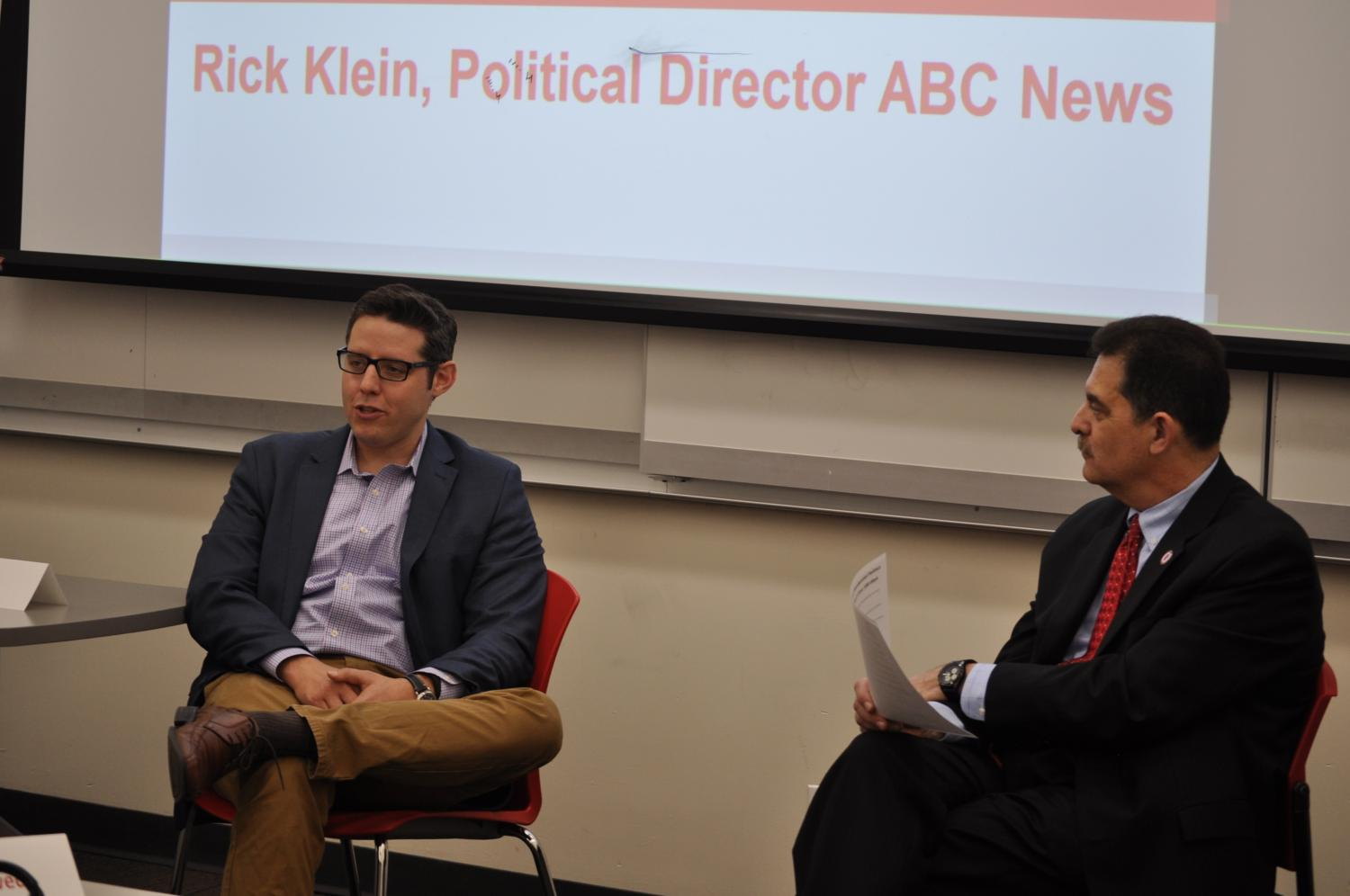 Professor Michael Rizzo, right, moderated the question-and-answer session with Rick Klein.