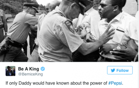 Civil rights activist Martin Luther King Jr.'s daughter tweets her reaction to Pepsi ad.