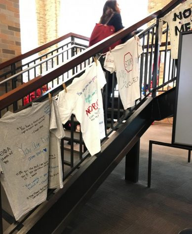 Students decorated t-shirts with messages of anti-violence and in support of victims of rape.