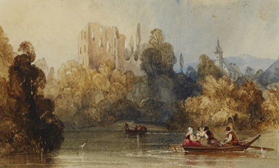 Lake Scene by Charles Bentley sold at the auction for $625.