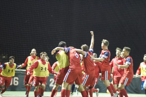 David Enstrom (6) celebrates with the team after scoring the decisive goal in the Red Storm
