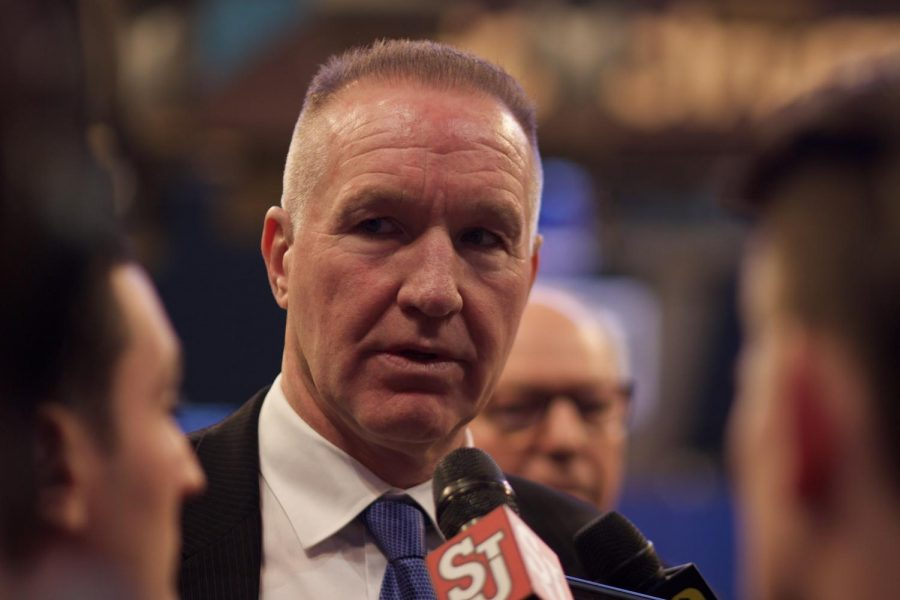 With a talented and more experienced roster, St. John's Head Coach Chris Mullin is hunting for the postseason (Torch Photo/Nick Bello).