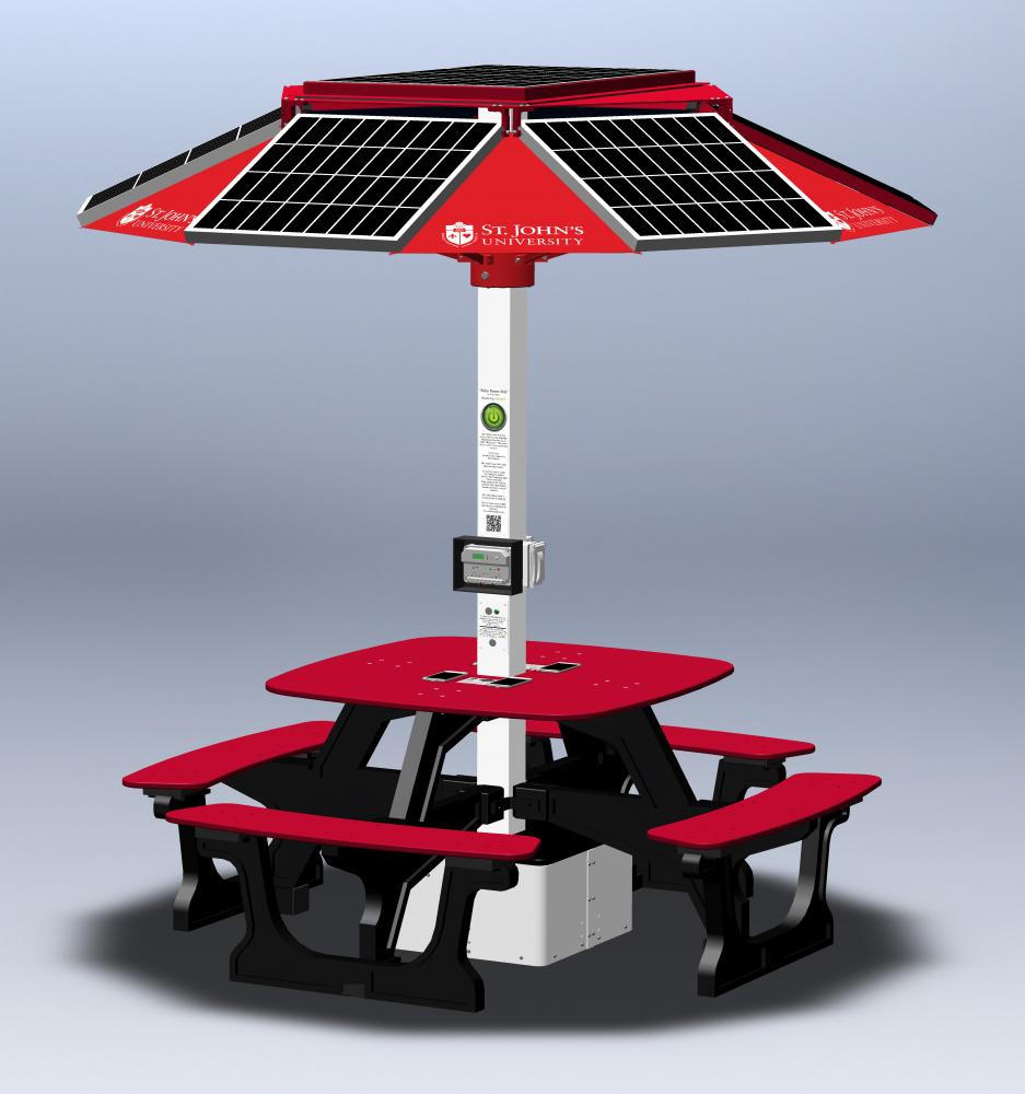 The solar-powered tables will help reduce the University's energy consumption.