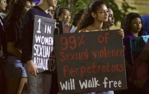 Students walked through campus in solidarity with victims of sexual violence.