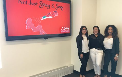 Maryann Rodas, Andrea Sifunentes and Nadine Rivera represented their sorority for the discussion in the D'Angelo Center.