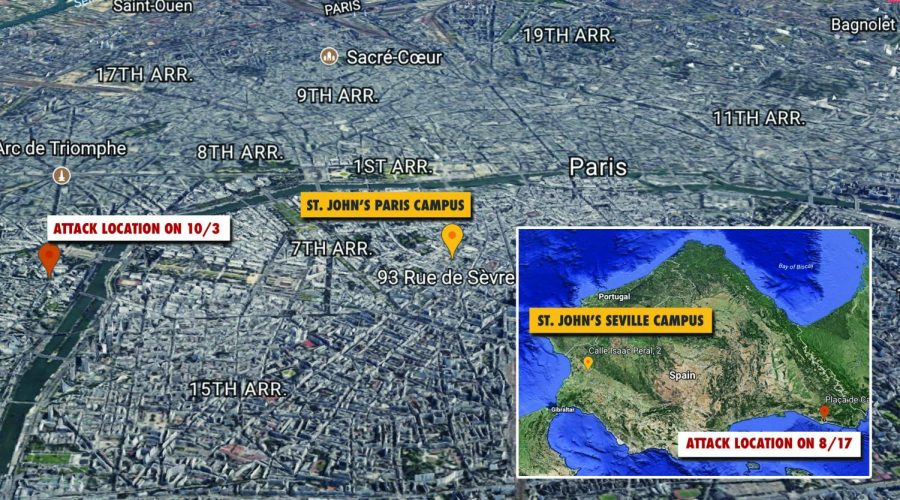 This map shows recent terror attacks in Europe and their proximity to SJU campuses in Paris and Seville.