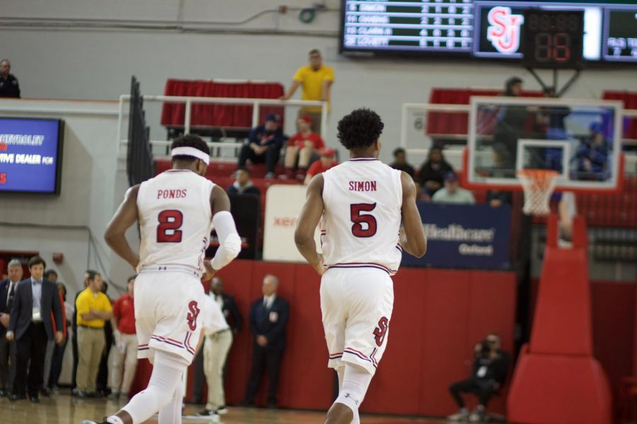 Shamorie Ponds led all scorers with 21 points and Justin Simon dished out a game-high seven assists in the Red Storm's 84-52 victory over AIC on Wednesday night (Torch Photo/Nick Bello).