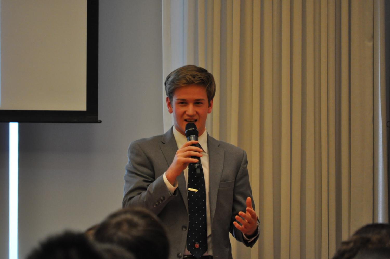 Frank Obermeyer at last year's SGI Debate where he later won for president.