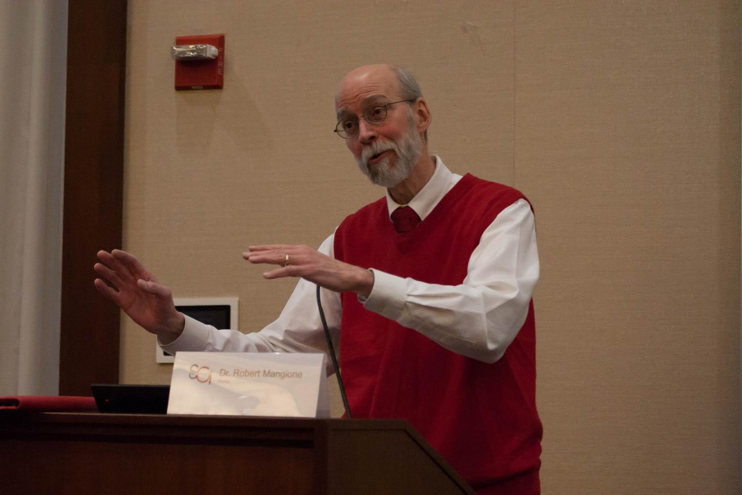 Dr. Mangione addressed students on March 1 at the meeting.