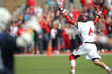 Kieran McArdle celebrates a game-winning goal against Villanova in 2014