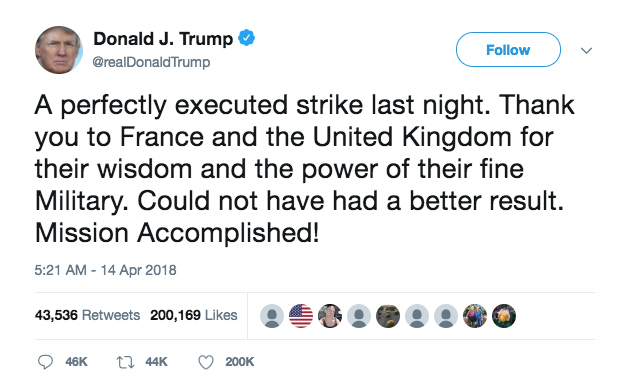 President Donald Trump tweeted on April 14 about the Syrian airstrikes.