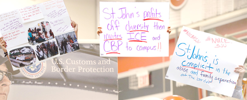 Students protest ICE and CBP attendance at Career Fair on September 20, 2018.