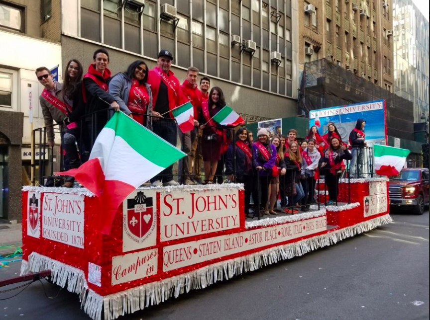 St. John's University participating in last years Columbus Day Parade in Manhattan