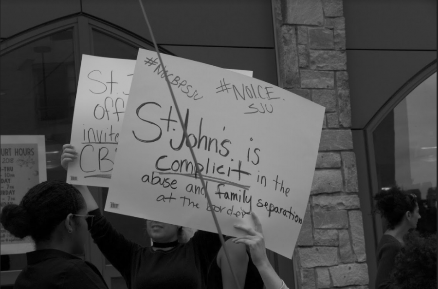 St. John's students protest ICE and U.S. Customs and Border Protection.