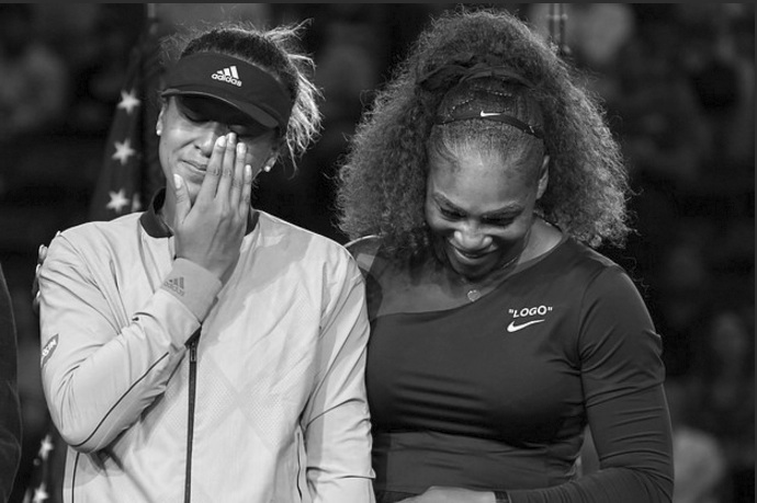 Naomi Osaka and Serena Williams following the end of the U.S. Open Final.