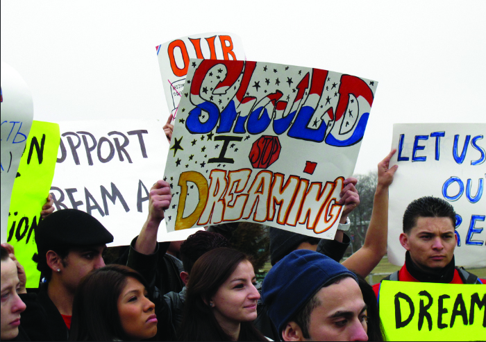 A crowd protesting for the rights of dreamers to remain in the U.S.