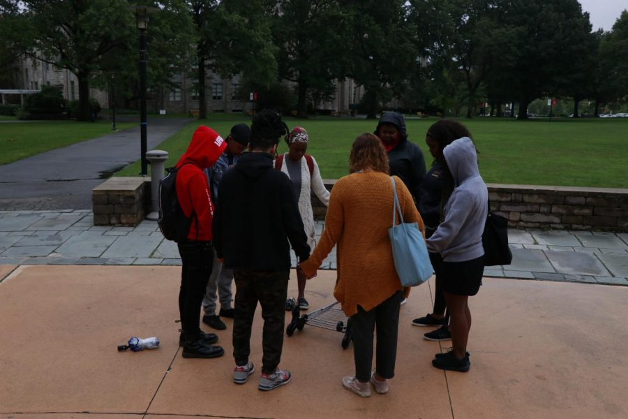 St. John's students, led by Kennisa Ragland, showed support to Dr. Christine Ford.
