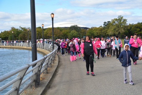 Students walked in support of breast cancer awareness at Flushing Meadows Park.