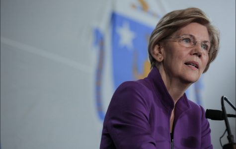 Elizabeth Warren giving a speech during the Unity Rally in Cambridge, MA.