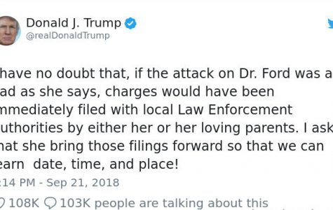 President Trump's  recent tweet concerning the Brett Kavanaugh hearings regarding his sexual assault allegations.
