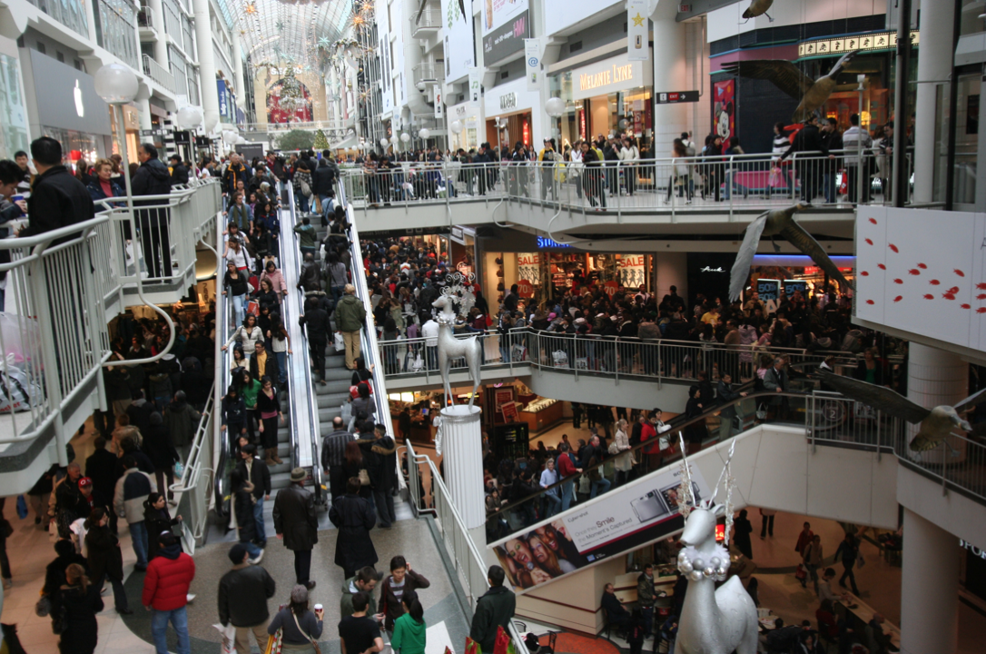 The interior of a mall in Virginia in 2007, showing how hectic how holiday shopping can be.