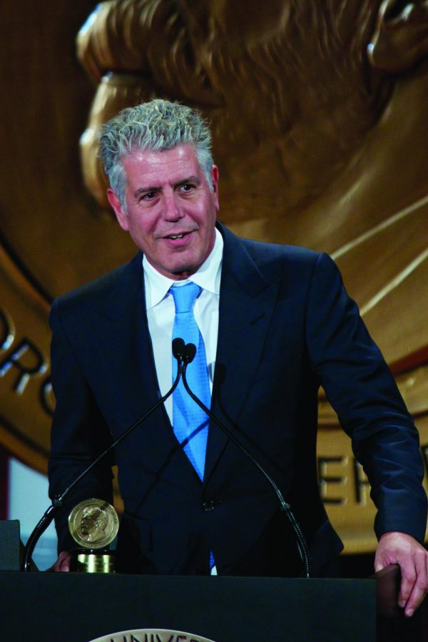 "Bourdain accepted a Peabody Award for ""Parts Unknown."""