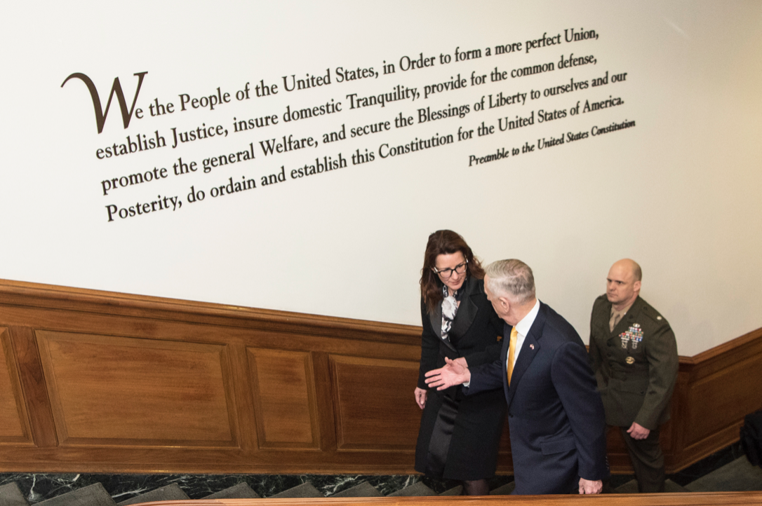 The Preamble of the Constitution on display in the Department of Defense, in D.C.