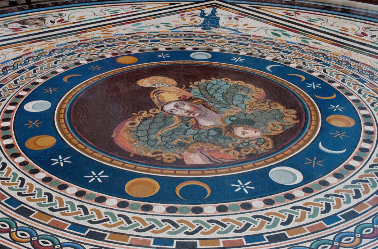 A close snapshot of the floor of the Vatican, showcasing elements of astrology.