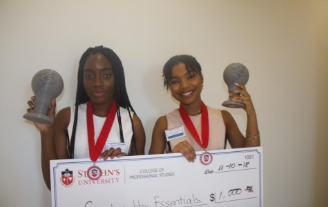 """Magdelene Barjolo (left) and Alexandria Ligon (right) win the Pitch Johnny competition with their idea """"Sending Her Essentials"""" (SHE)."""