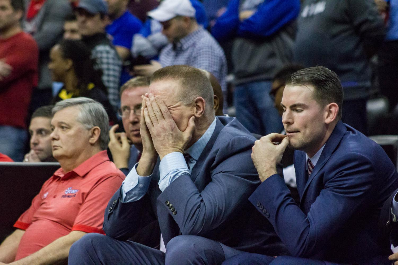 Head Coach Chris Mullin reacts during a game against Seton Hall.