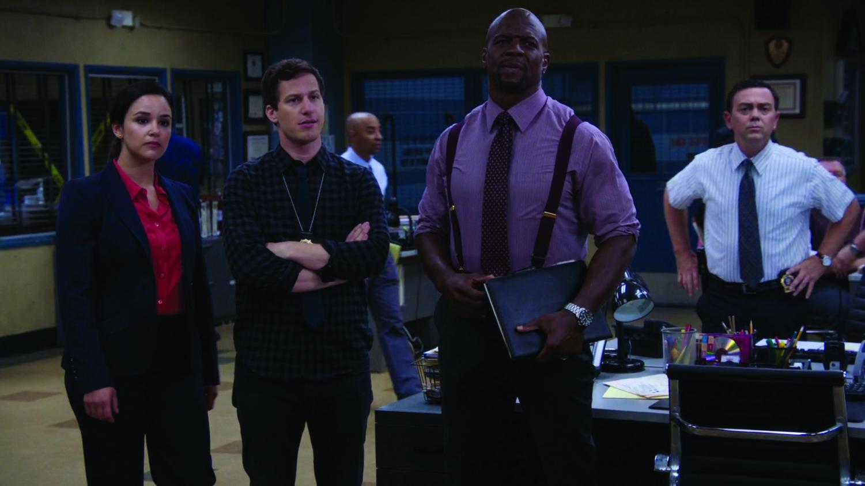 """Brooklyn Nine-Nine"" stars (left to right) Melissa Fumero, Andy Samberg, Terry Crews and Joe Lo Truglio."