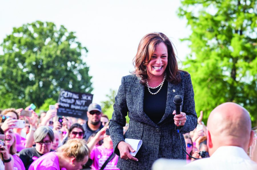 Presidential candidate Kamala Harris at the March to Save our Care rally in June of 2017.