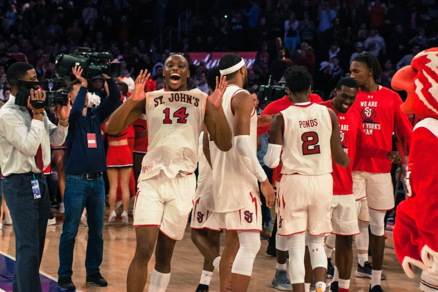 Mustapha Heron chipped in 19 points on Sunday helping to lead St. John's against rival Villanova at Madison Square Garden.