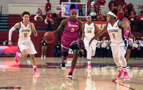 Tiana England finished with 20 points to lead the Red Storm in their upset of Marquette.