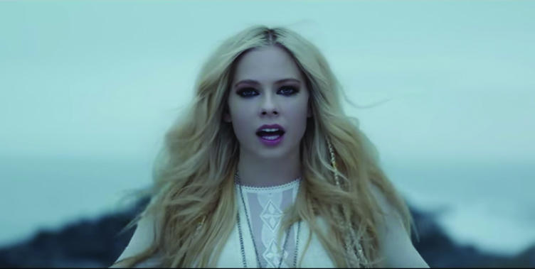 "Avril Lavigne in her music video for ""Head Above Water."""