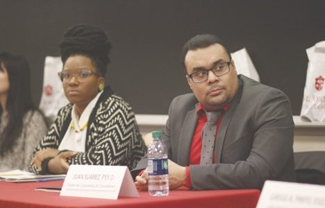 Dr. Schekeva Hall and Juan Suarez were among the panelists at last week's talk.