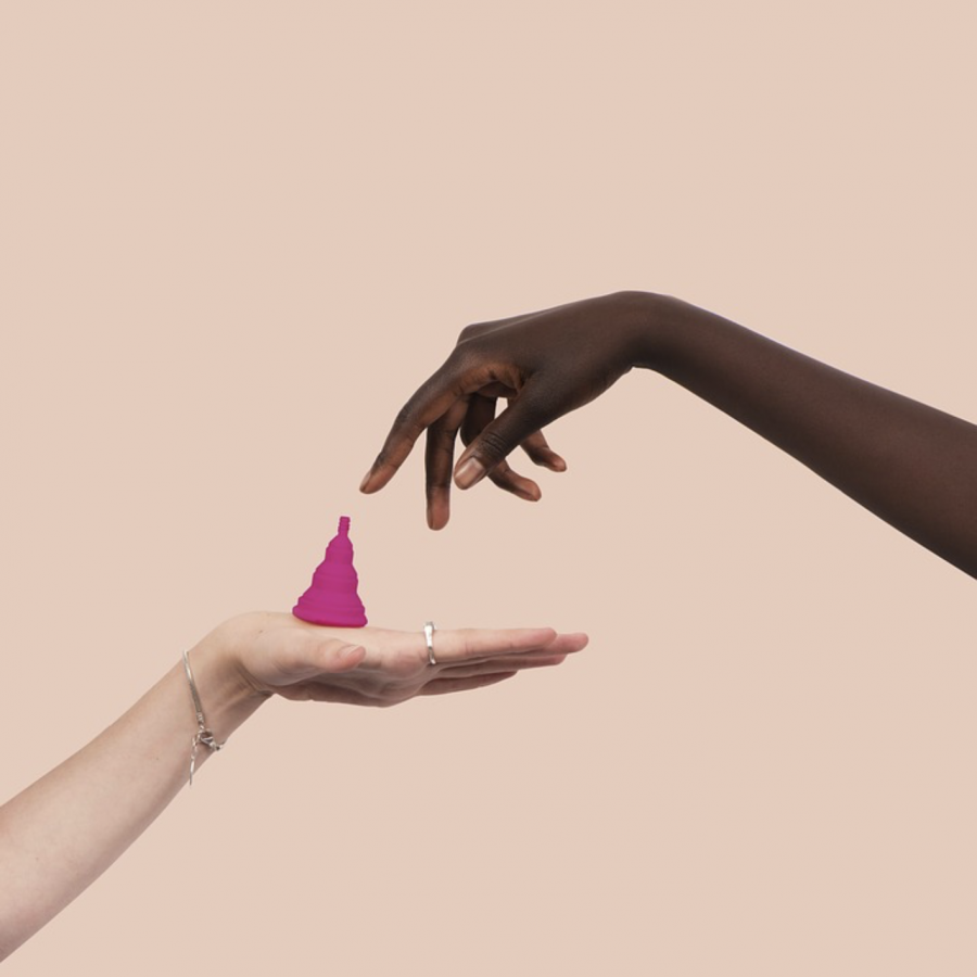 A up close shot of a menstrual cup.