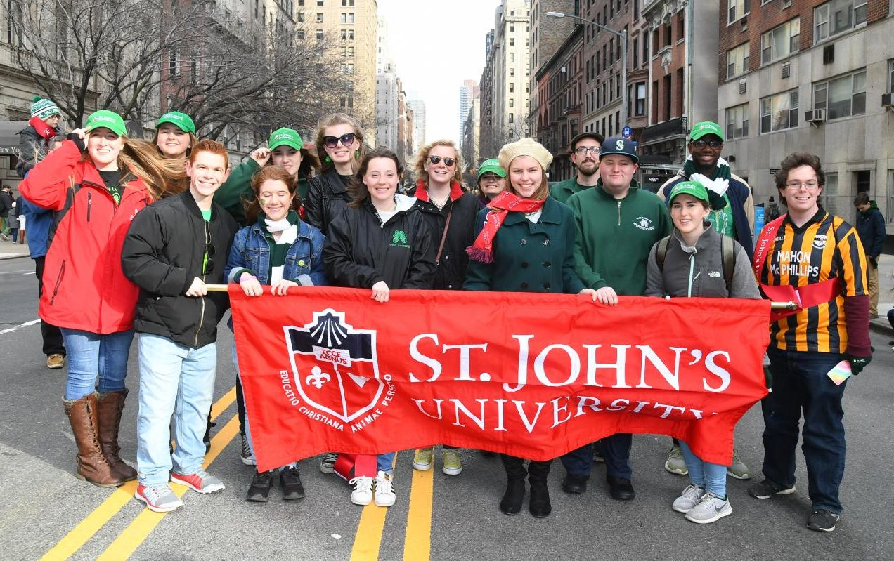 St. John's University students, faculty and alumni gather at the annual St. Patrick's Day Parade in Manhattan in 2017.