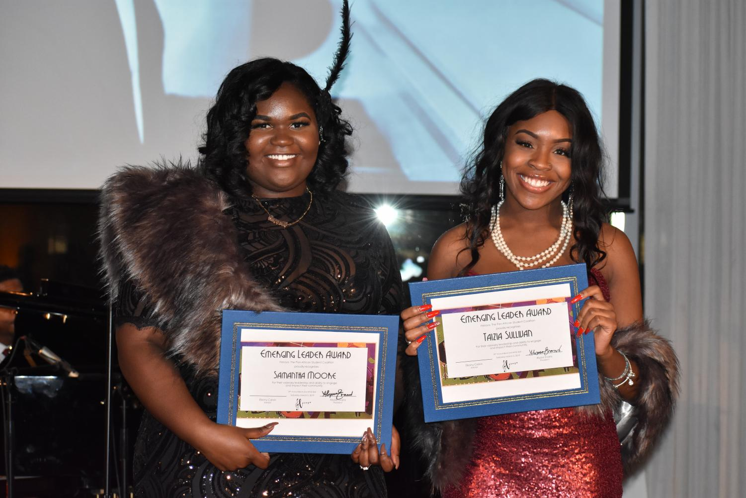 Savannah Moore and Taizia Sullivan were given the Emerging Leader Award at Haraya's B&W Ball.